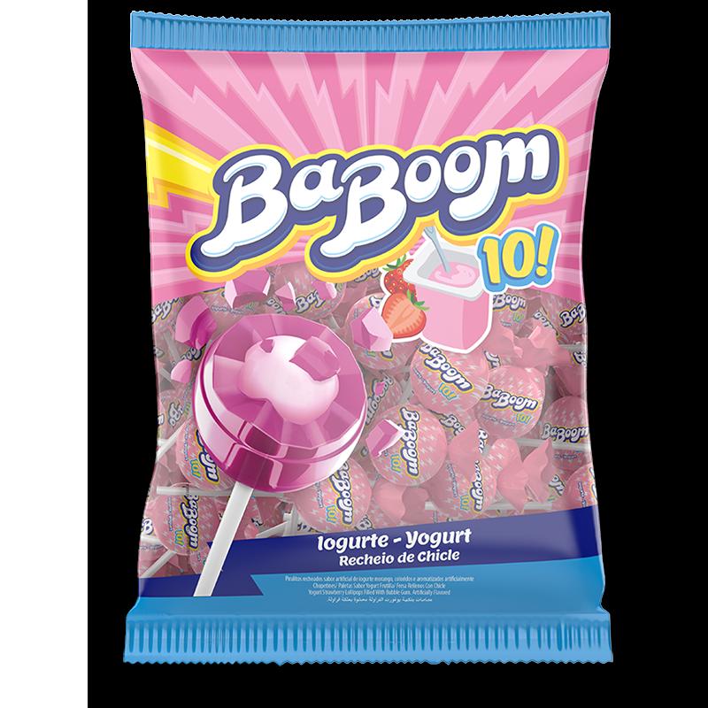 Chupetines de yogurt de frutilla rellenos de chicle - 550gr
