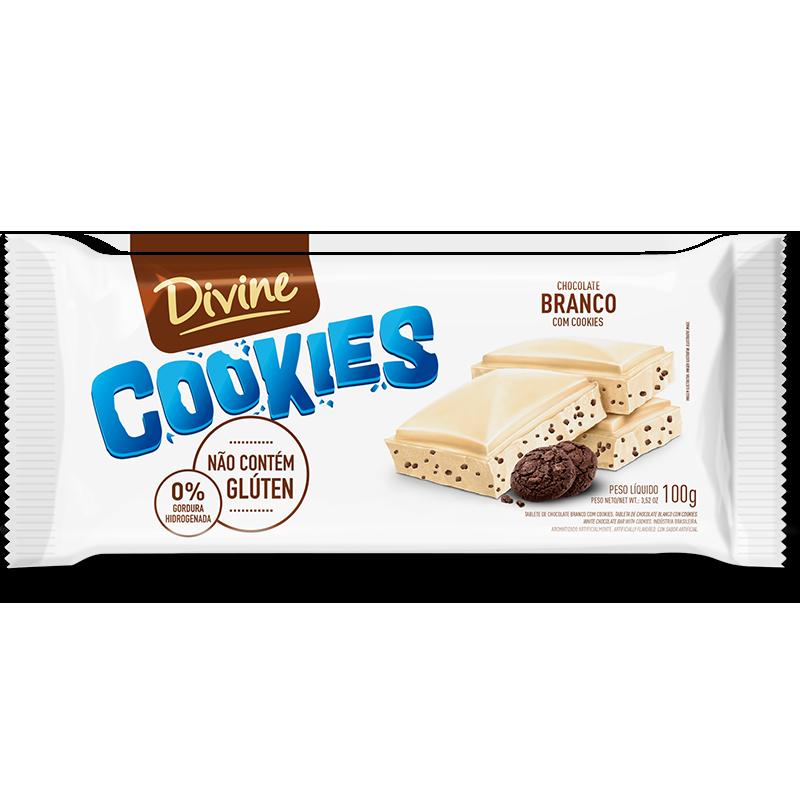 Barra de chocolate Blanco Divine Cookies (100g)