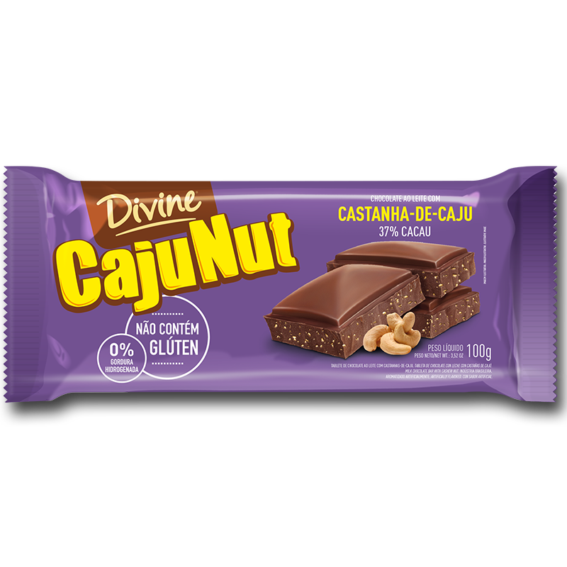 Barra de chocolate (SIN GLUTEN) con Cajunut Divine (100g)