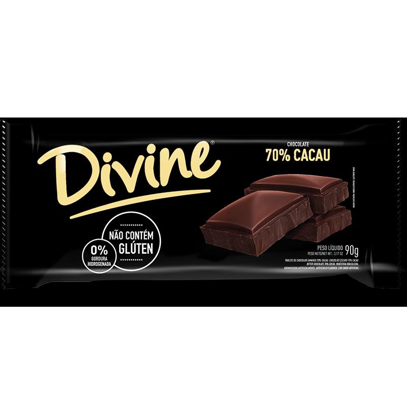 Barra de chocolate (SIN GLUTEN) 70% cacao Divine (90g)
