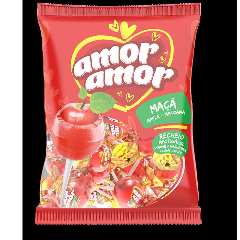 Chupetines de manzana roja con relleno masticable - 432gr
