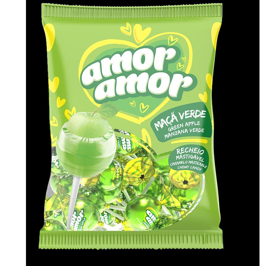 Chupetines de manzana verde relleno de masticable - 432gr