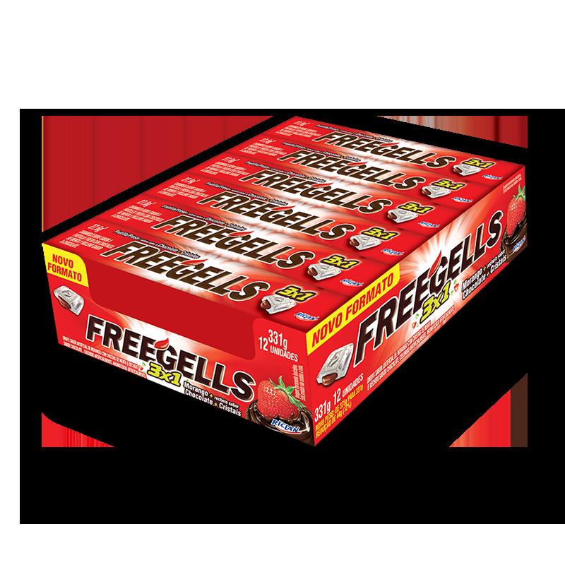 Pastillas Freegells 3x1 de frutilla y chocolate